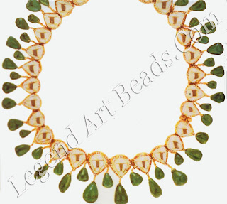 A necklace, c. 1954, of rose-cut diamonds and cabochon emeralds (in their original Indian setting) which was fashioned by Harry Winston from a pair of anklets belonging to Sita Devi of Baroda. Purchased by the Duchess of Windsor in 1956, the necklace was returned to Winston's after the Duchess discovered that Sita Devi had worn the stones around her feet.
