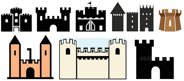 Easy to tape and to paint straight line castles and towers for kids room wall