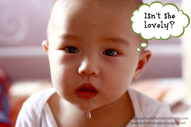 Funny Cute Baby photo. Baby's saliva was dripping.