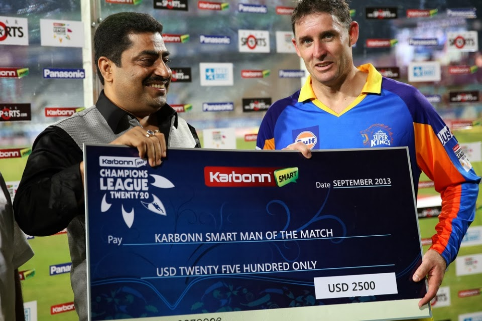 Michael-Hussey-Man-of-the-Match-Chennai-Super-Kings-vs-Brisbane-Heat- M13-CLT20-2013