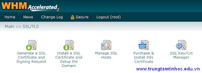Màn hình SSL/TLS của WHM