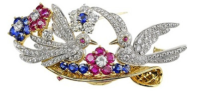 Diamond Brooch Nesting Birds Ruby Sapphire Platinum Gold