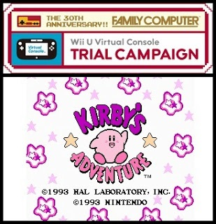 Wii U Virtual Console logo and title screen of Kirby's Adventure