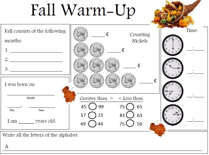 ... School-Warm-Up http://www.teacherspayteachers.com/Product/Fall-Warm-Up