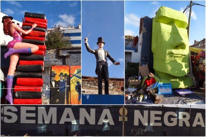 Semana Negra 2014 en Gijon. Estatuas y mercadillos.