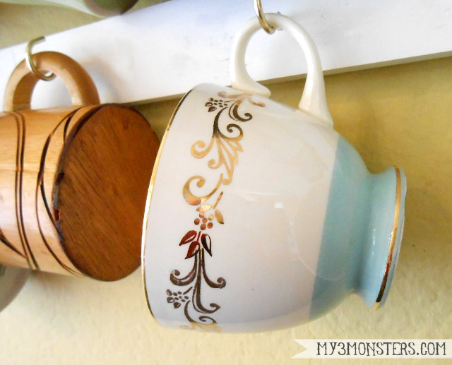 Cottage style decorating with tea cups at my3monsters.com