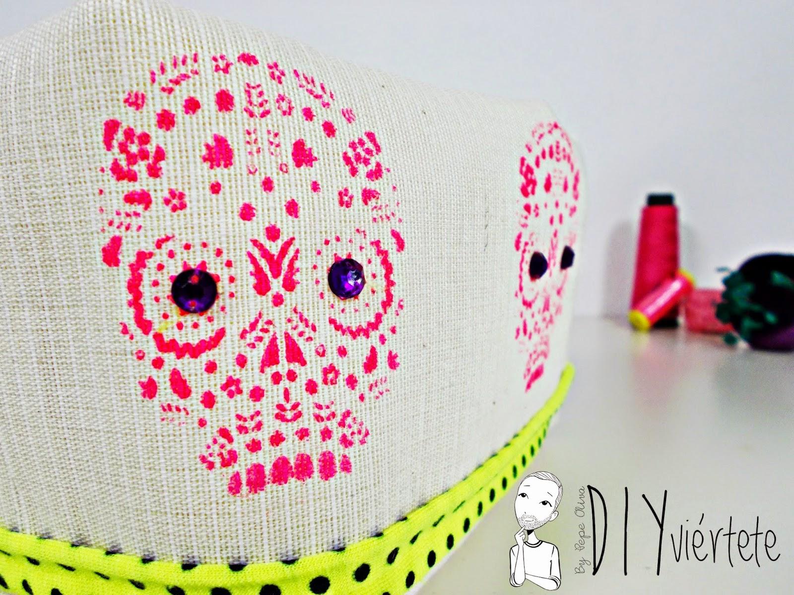 DIY-cesto-costura-tela-calavera-día de muertos-México-flúor-trapillo-halloween-caramelos-3