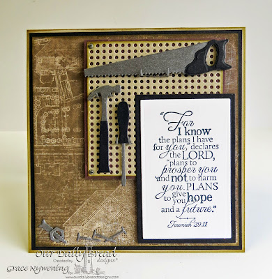 ODBD Stamps and dies: Good Man, Workshop Tools, Pegboard Background, designed by Grace Nywening