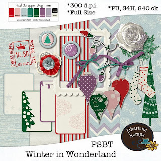 "Free scrapbook ""Winter in Woonderland"" blog train from Dhariana Scraps"