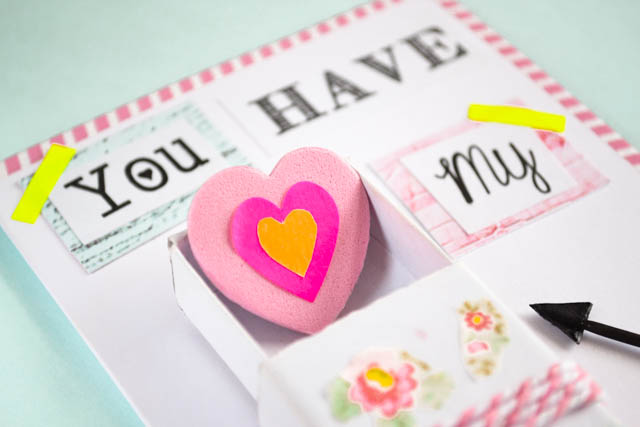 handmade cute interactive card with heart