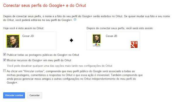 Vinculação dos perfis do Orkut e do Google+