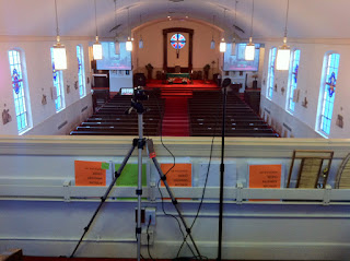 Video cameras, projectos and projection screens intergrated into a user-friendly system for worship.