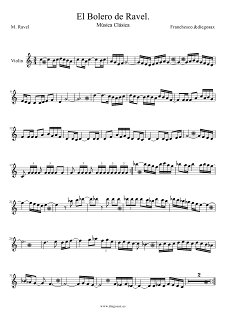 Partitura de El Bolero de Ravel para Violín Maurice Ravel Violin Sheet Music