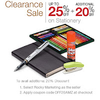 Amazon : Clearance Sale Stationery upto 75% off & Extra 20% off Starting Rs.21 : Buytoearn