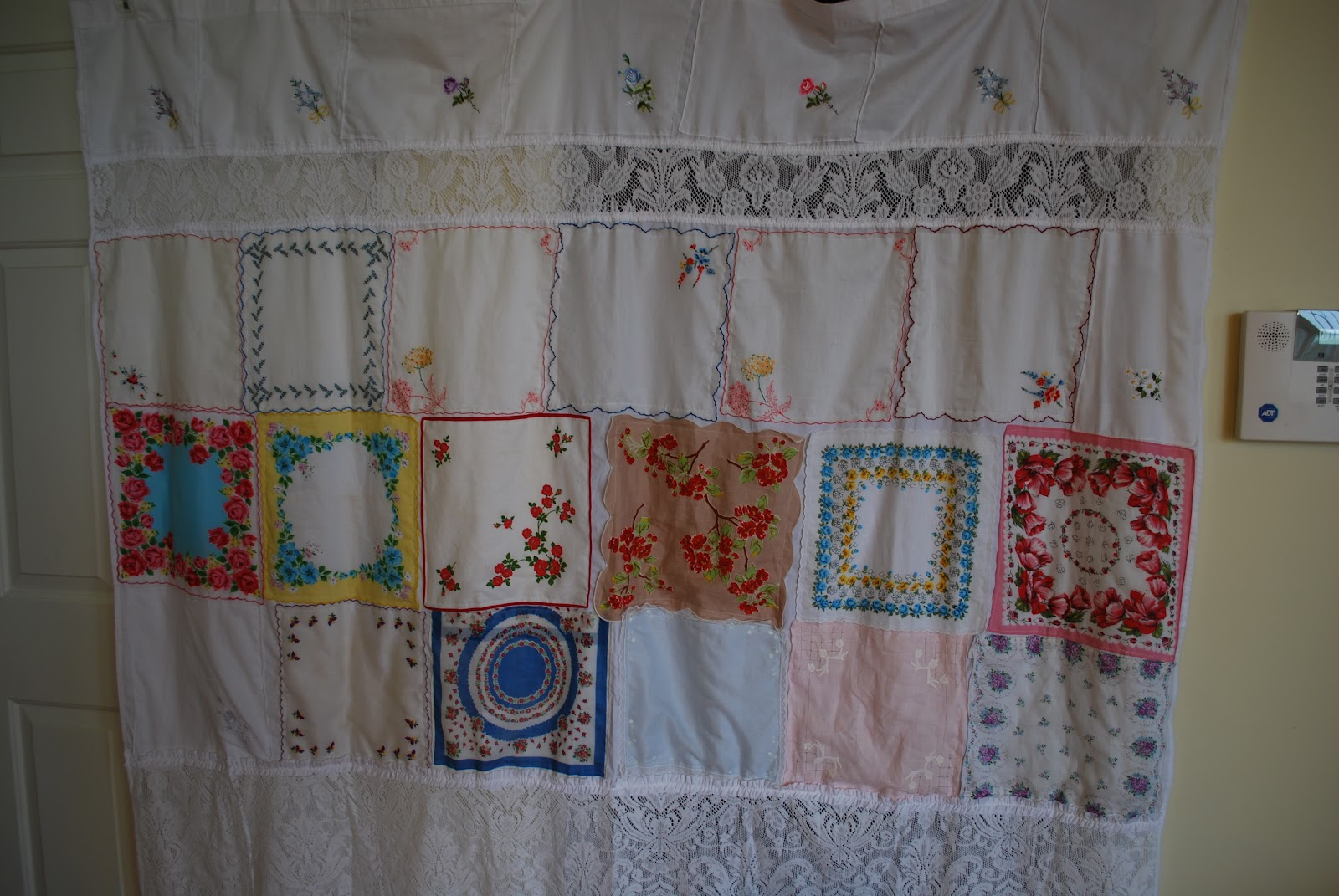 Shabby Chic Shower Curtain Hooks Vintage hankie shower curtain