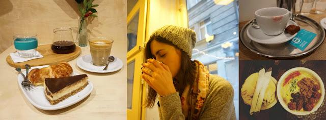 Filtr, flat white a dort v My Little Melbourne, filtr v Kontakt Coffee, filtr v Espresso Embassy, jídlo v Hummus baru