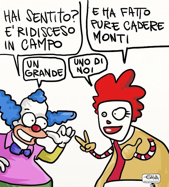 Berlusconi Krusty Monti Roland Mc Donald Gava Satira Vignette