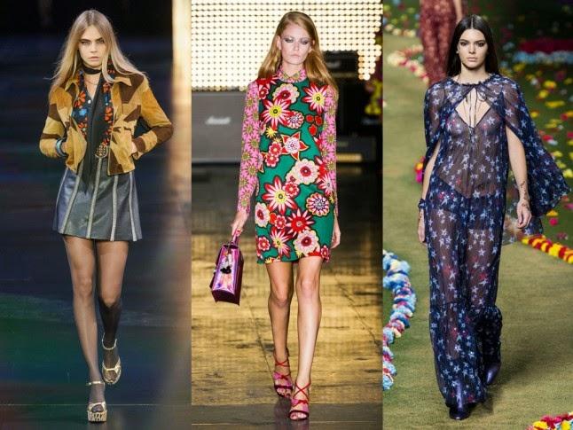70s trend, SS25 trends, SS15 fashion trends, Diane Von Furstenburg SS15, Burberry SS15