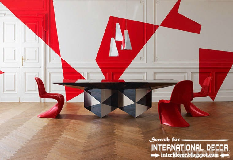 Contemporary dining room sets ideas and furniture 2015, red and white wall
