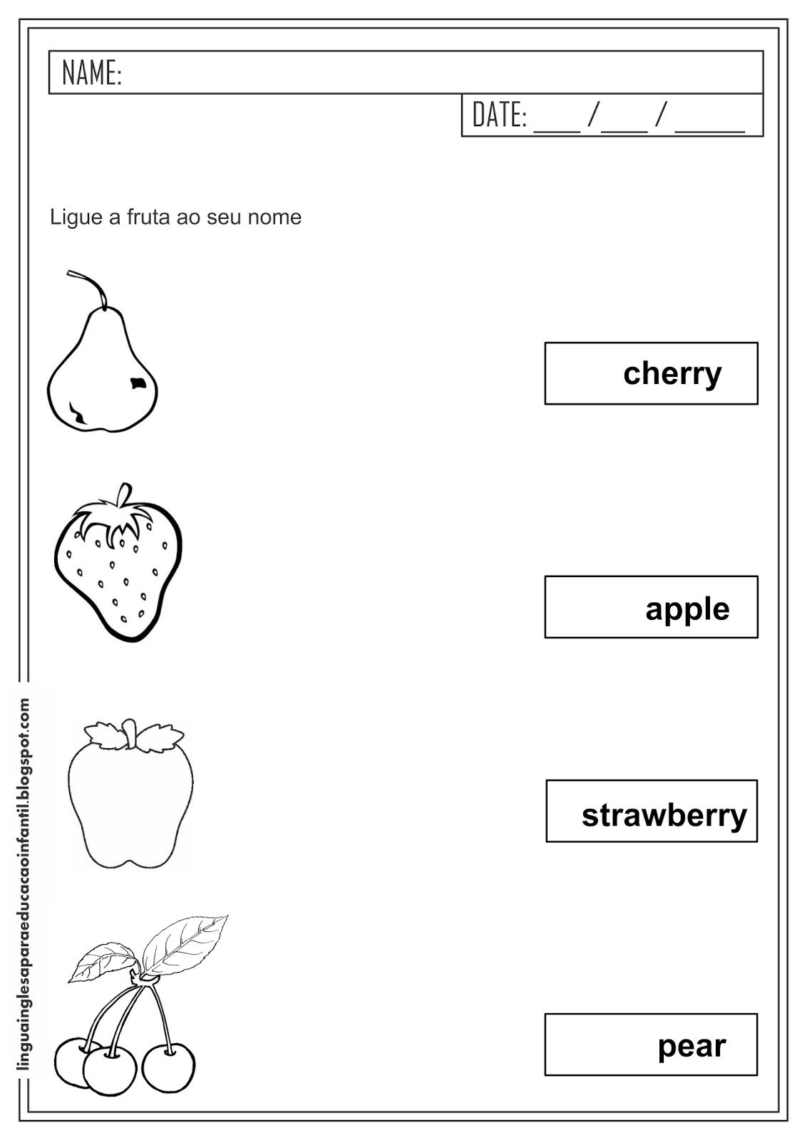 Atividade de Inglês - Liga figuras com frutas para educação infantil