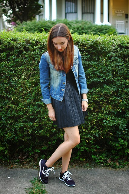black mini dress, pleather dress, vegan leather mini dress, free people black mini dress, nike free 5.0, chinese laundry strappy heels, red lip, kendra scott arrowhead necklace, free people denim jacket, day to night outfit, kate spade watch