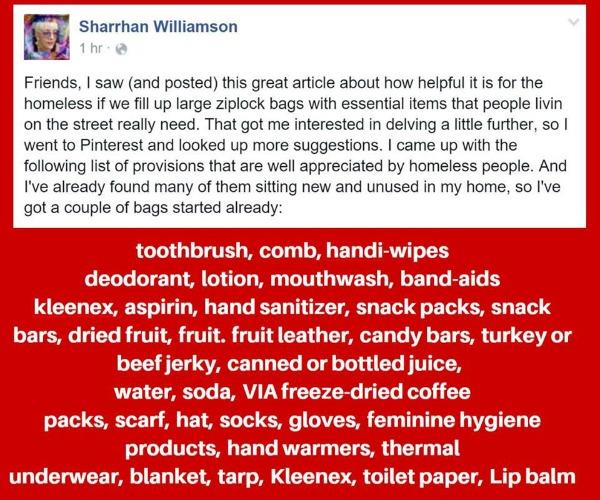 christmas charity homeless giving personal packs