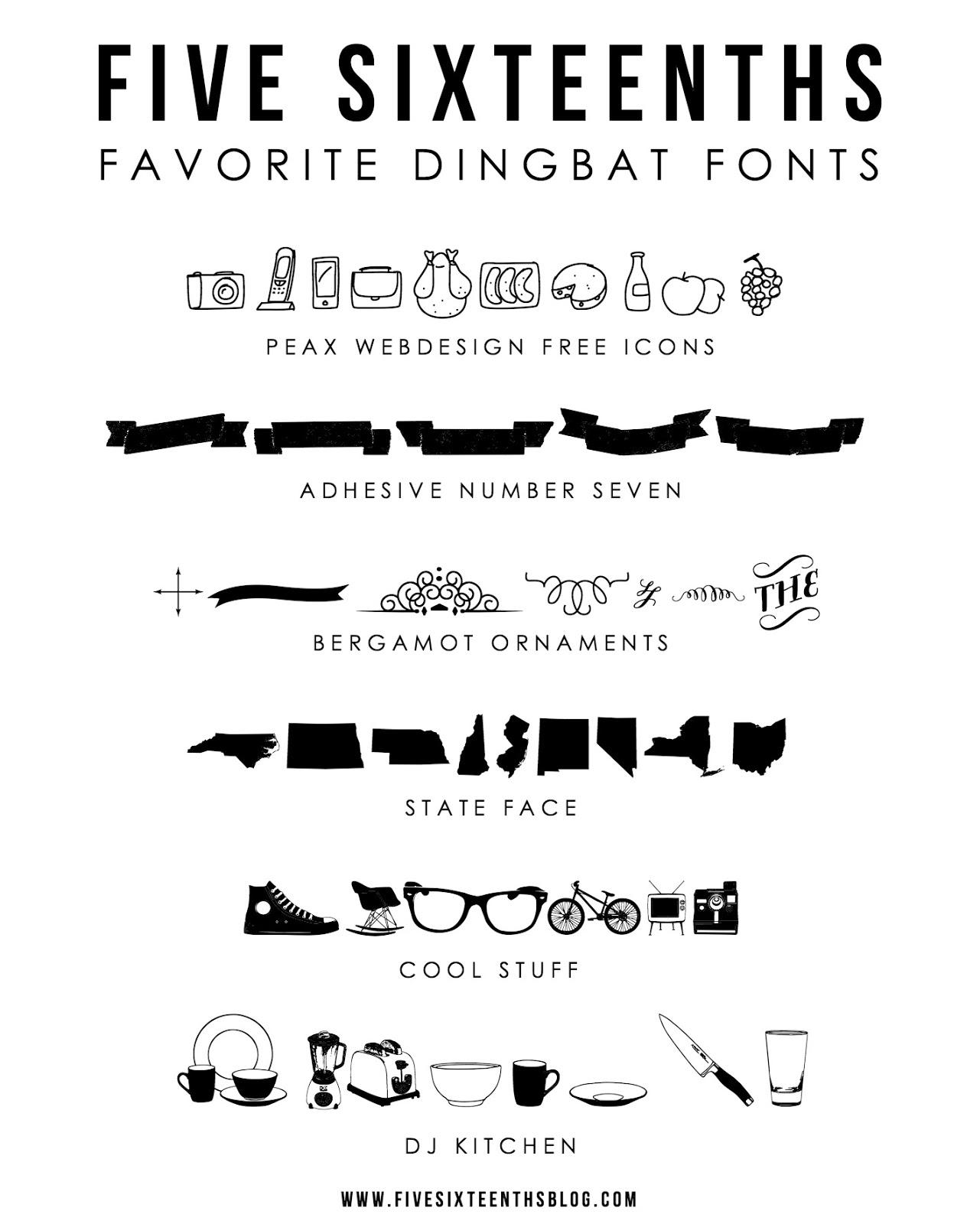 Five Sixteenths Blog: Trend Tuesday // Top 6 Dingbat Fonts
