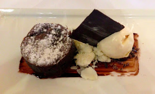 Chocolate fondant with coconut ice cream