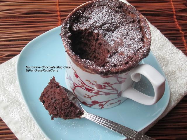 Pan Gravy Kadai Curry: Egg-less Microwave Chocolate Mug Cake