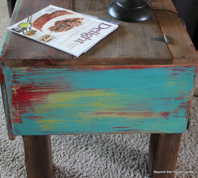end table, storage table, salvaged wood, old drawer. paint technique, beyond the picket fence,http://bec4-beyondthepicketfence.blogspot.com/2013/09/drawer-side-table.html