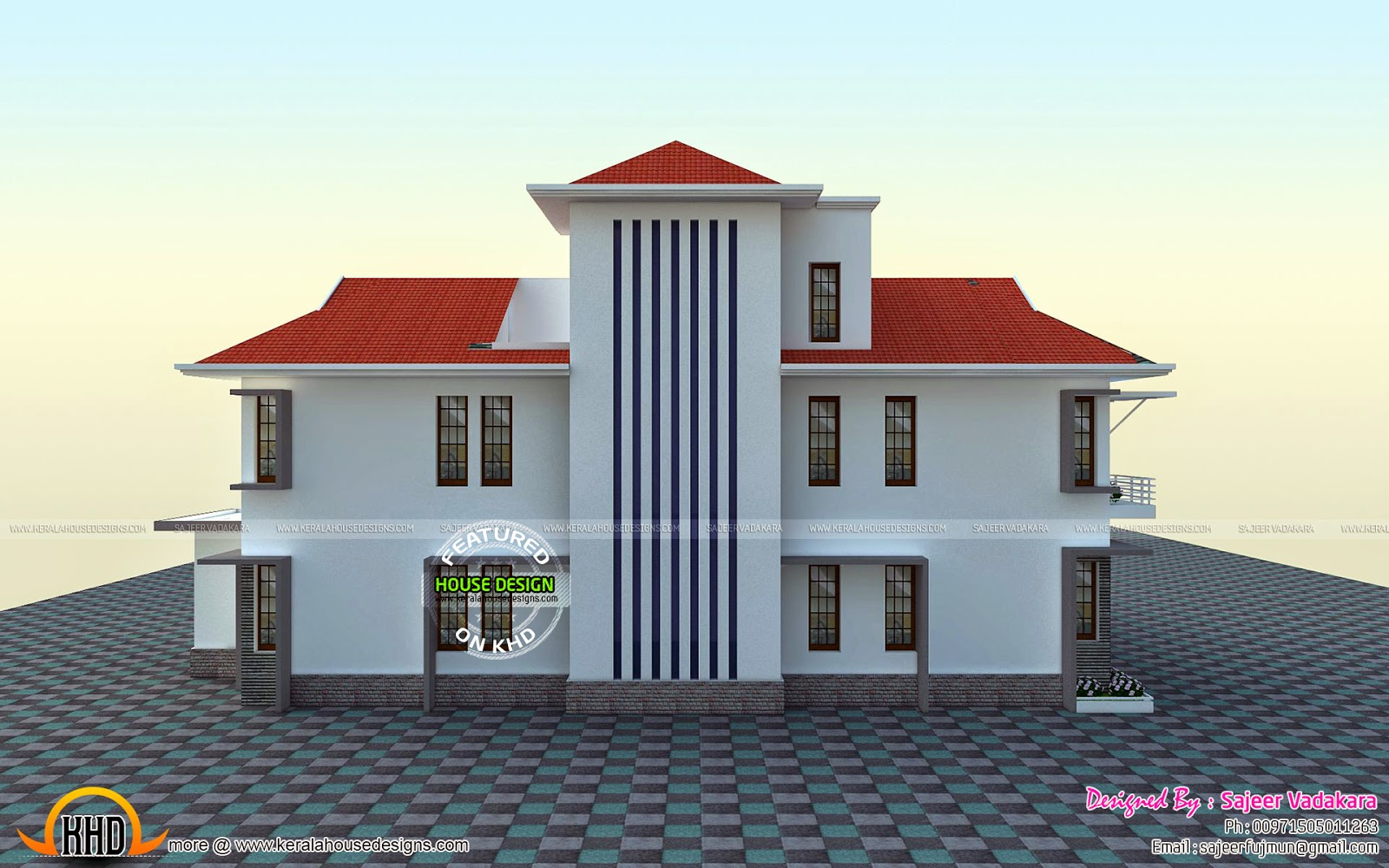 House all side view rendering kerala home design and for Side view house plans