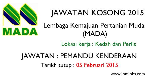 Jawatan Kosong Lembaga Kemajuan Pertanian Muda (MADA) 2015 Terkini