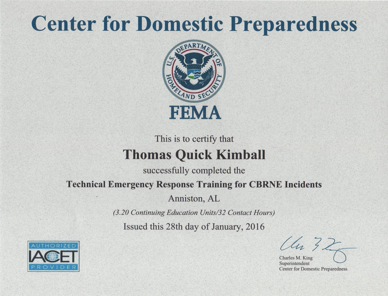 Technical Emergency Response Training for CBRNE Incidents (TERT)