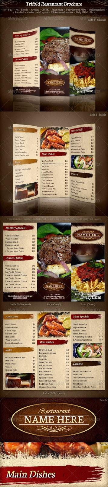 Magnificas Plantillas Para Menus de Restaurantes | .