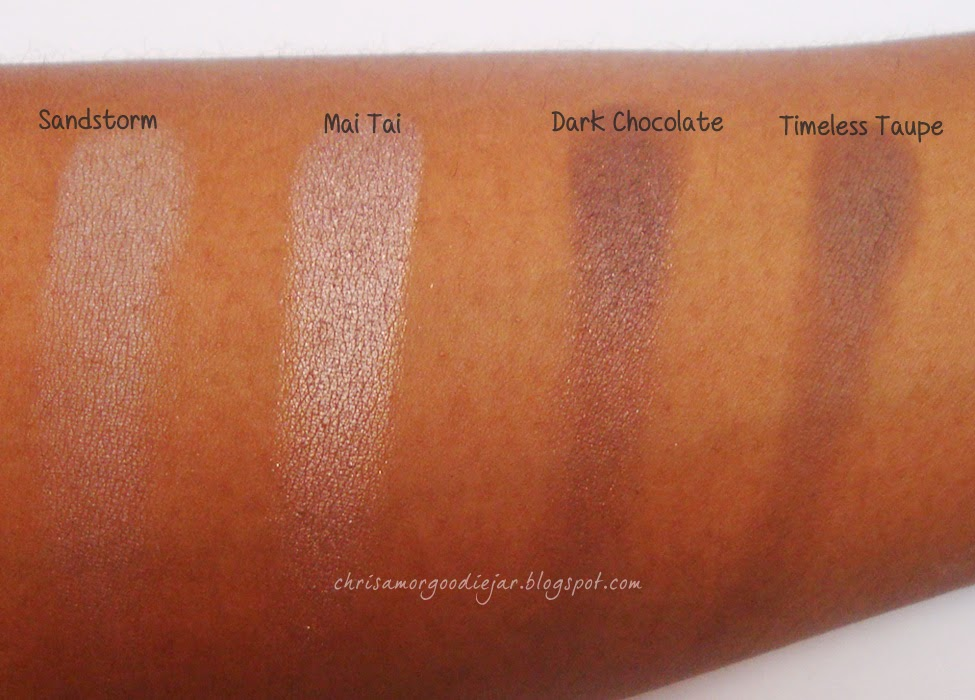 Coastal Scents Neutral E/S swatches- Sandstorm, Mai Tai, Dark Chocolate, Timeless Taupe