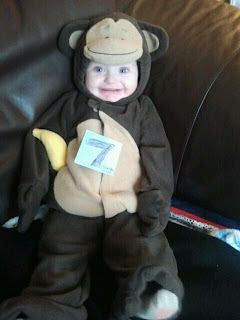 youre 7 months old now its oct 23rdreally close to halloween so i just had to put you in your monkey costume for your 7 month picture