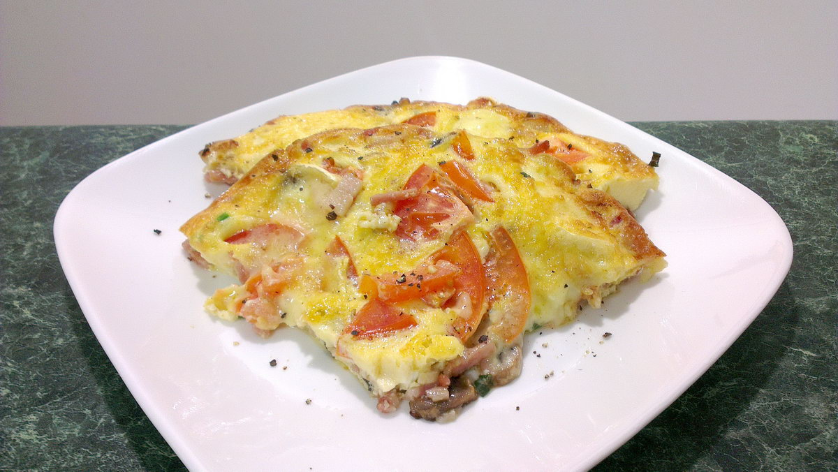 ... , with eggs, cream, double brie cheese, bacon, mushroom and tomato
