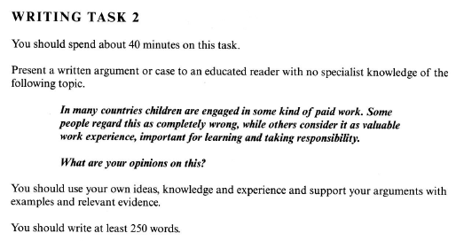 should children be engaged in some kind of paid work