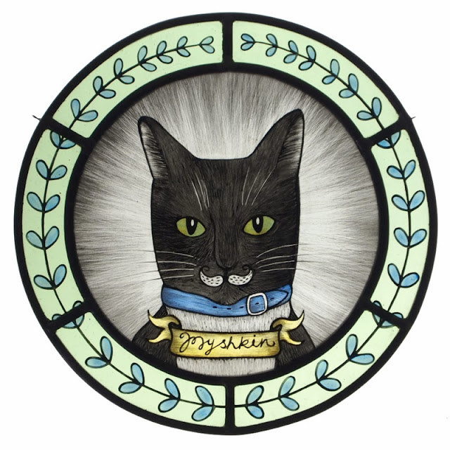 cat portrait stained glass roundel hand painted kiln fired illustration whimsical