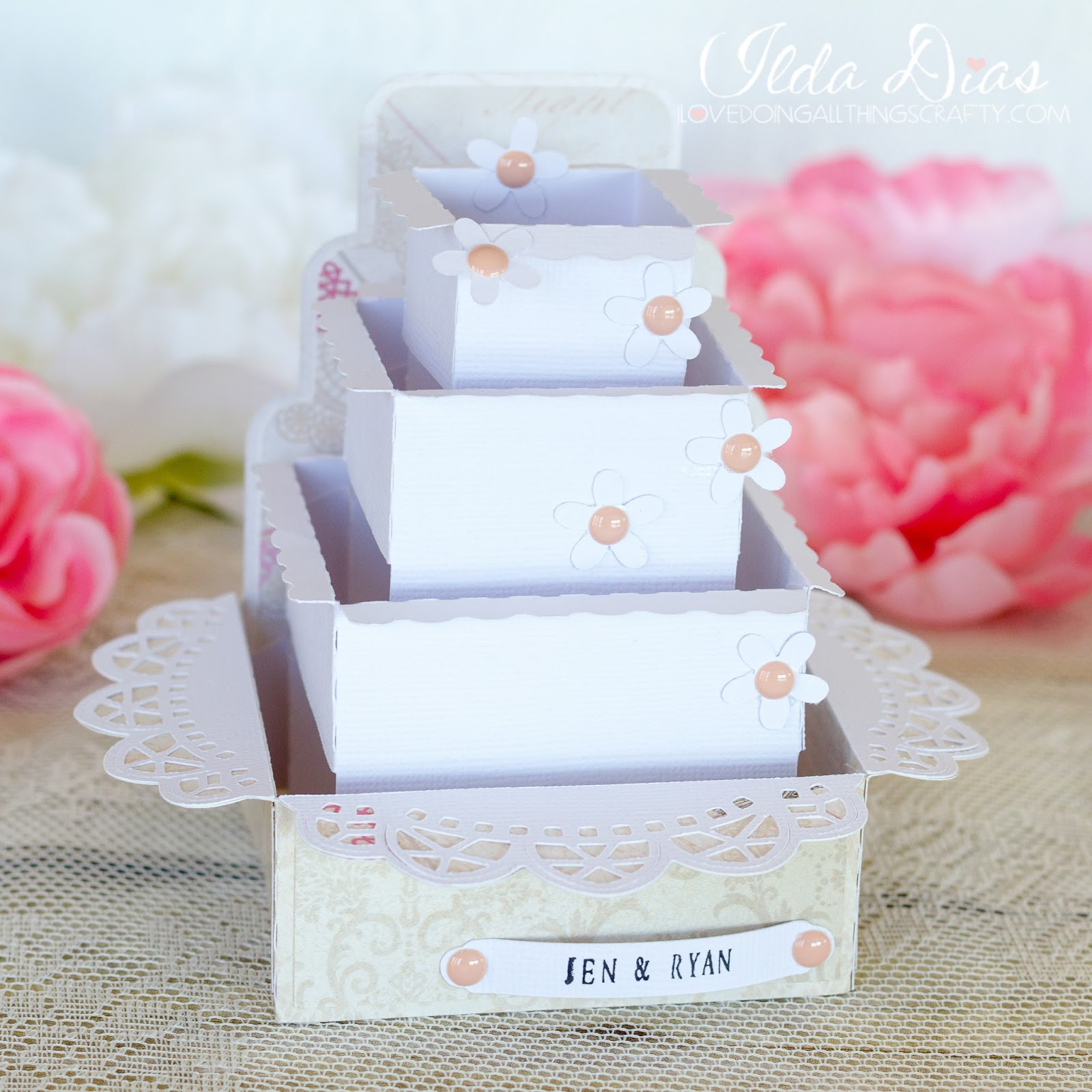 I Love Doing All Things Crafty Wedding Cake Box Cards