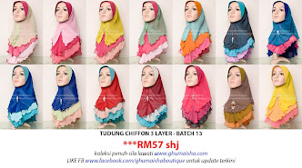 Tudung Chiffon 3 Layer - Batch 13