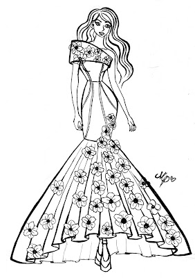 "A black and white design sketch of Madison Prime's ""Remembrance Dress"" design."