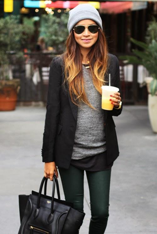 Black and grey fall street style fashion