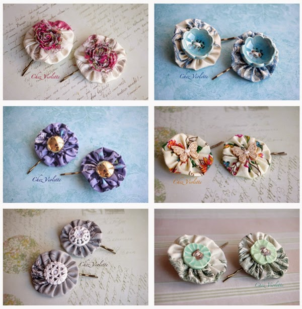 www.chezviolette.etsy.com - barrettes romantiques faites à la main