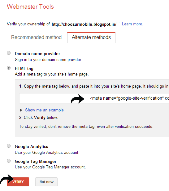 HTML tag method to verify site on Google Webmaster Tools