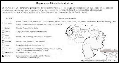 Lista de las nombres de las Regiones Politico-administrativas de VENEZUELA, blanco y negro