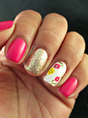 Julep Janel, Color Club Gingerbread, spring, flowers, fuchsia water decals, nail decals, nails, nail art, nail design, mani