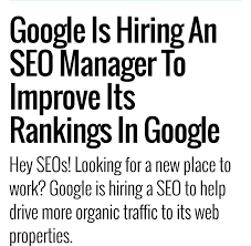 Google hiring SEO manager