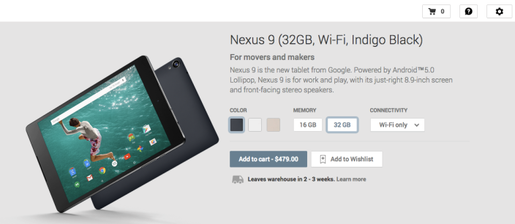 Đã có thể đặt hàng Nexus 9 trên Amazon, Play Store