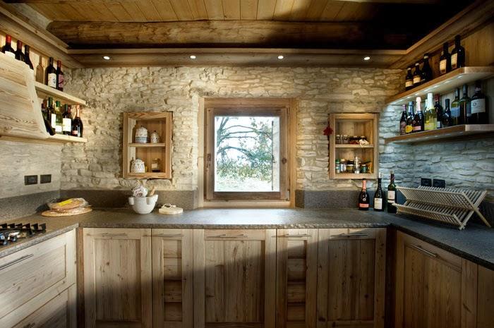 Caldo chalet di montagna questione cucina - Cucina di montagna ...